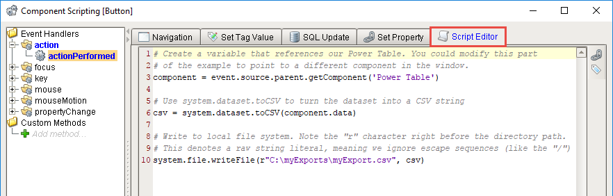 Exporting and Importing a CSV - Ignition User Manual 7 9 - Ignition