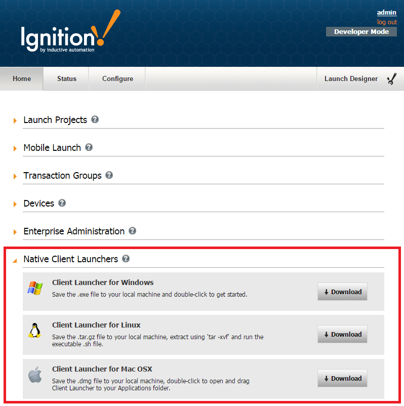 Using the Native Client Launchers - Ignition User Manual 7 8